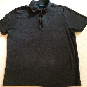 PERRY ELLIS S 1/4 zip short sleeve polo